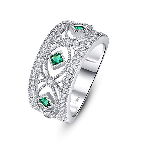 (PAKULA 925 Sterling Silver Women Simulated Emerald CZ Half Eternity Band Ring Size 6)