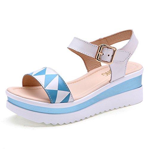Xing Lin Sandalias De Mujer Nueva Sandalia De Verano Las Cuñas Con Plataforma Impermeable Zapatos De Cuero Casual Dama Zapato Abierto Inferior Grueso Sandalias Planas blue