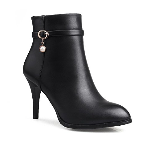 Junior Club Chair (WeenFashion Women's Low-Top Pointed Toe Pu High-Heels Zipper Solid Boots with Jewels, Black-Charms, 35)