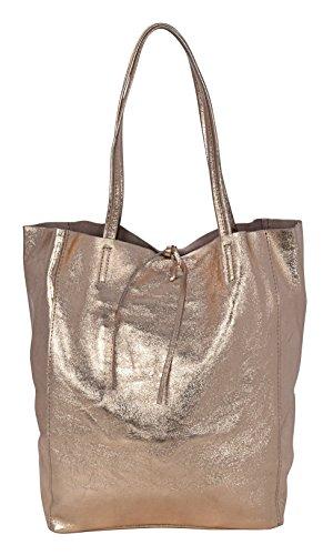 AMBRA Shopper Tasche Handtasche Damenhandtasche Schultasche Echtes Leder Made in Italy Rosa-Metall M93TdA8t5P