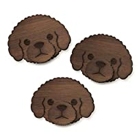 PAZO, Teddy Bear Poodle Hand Made Wooden Self Adhesive Wall Hooks (3 PCS)