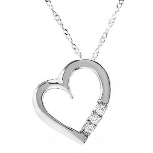 - Dazzlingrock Collection 0.15 Carat (ctw) 3 Stone White Diamond Heart Pendant (Silver Chain Included), Sterling Silver