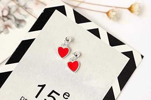 Childrens Enamel Star (Unique s925 Silver Earrings earings Dangler Eardrop Women Girls Love red Star Cloisonne Enamel Tide)
