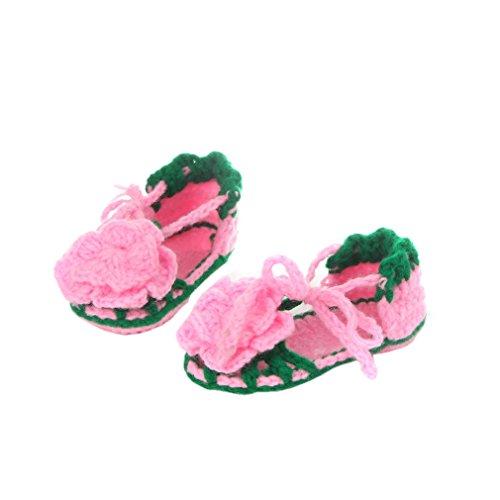 Smile YKK Strickschuh Strick Schuh Baby Unisex süße Muster One Size 11cm Blüte Pink