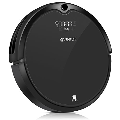 Robot Vacuum Cleaner Eventer Auto-Charging Floor Cleaning Robot with Powerful Suction, UV Sterilize Light,HEPA Filter System for Pet Fur Hair, Hard Wood Floor and Thin Carpet- Black