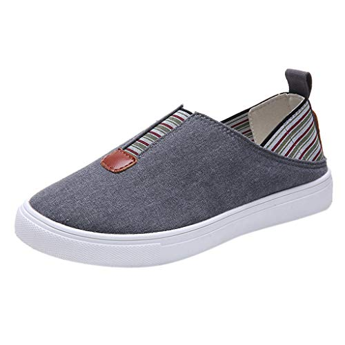 Toimothcn Women Slip on Sneakers Vintage Casual Roman Canvas Shoes Loafers for Girl (Gray,US:7) -