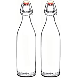 Set of 2-33.75 Oz Giara Glass Bottle with Stopper, Swing Top Bottles for Oil, Vinegar, Beverages, Beer, Water, Kombucha, Kefir, Soda, By California Home Goods