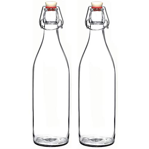 Set of 2-33.75 Oz Giara Glass Bottle with Stopper, Swing Top Bottles for Oil, Vinegar, Beverages, Beer, Water, Kombucha, Kefir, Soda, By California Home Goods - Glass Water Jug