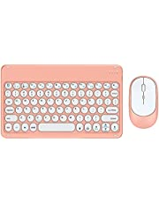 Meideli Wireless Keyboard Mouse Combo Ultra-Thin Mini Mute Keyboard Mouse for Notebook Computer Pink 2