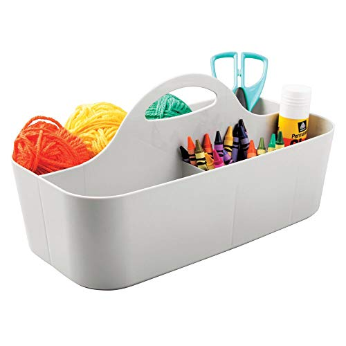 (mDesign Plastic Portable Craft Storage Organizer Caddy Tote, Divided Basket Bin with Handle for Craft, Sewing, Art Supplies - Holds Paint Brushes, Colored Pencils, Glue, Yarn - Large - Light Gray)