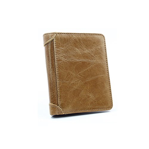 Ancient Folds Wallet Notecase short Ways Khaki Men's Soft Leather Real Restore of HBOS Cowhide Billfold head Three 58nqwxgIvv