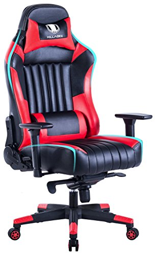 KILLABEE Ergonomic Racing Gaming Chair - Big and Tall 440lb E-Sports Chair High Back Executive Computer Desk Chair Leather Office Chair Detachable Padded Headrest and Lumbar Support (Red&Black) KILLABEE