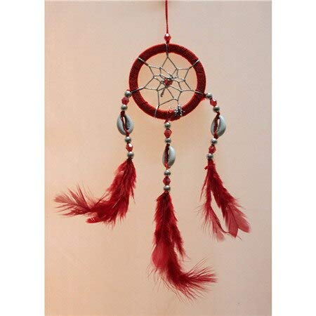 Wind Chimes - Handmade Dream Catcher Net with Feather White Beads Dreamcatcher Wall Hanging Hunter Substance Home Decor
