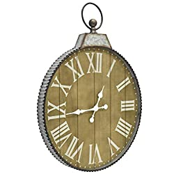 Oldtown 29x24 Cluny French Country Style Old Classic Vintage Farmhouse Galvanized Zinc Frame Real Solid Fir Wood Wall Clock (Wood, 29x24 inches)