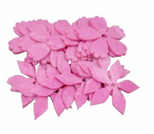 HUWI Felt flower mix pink Shapes 24St. 3cm