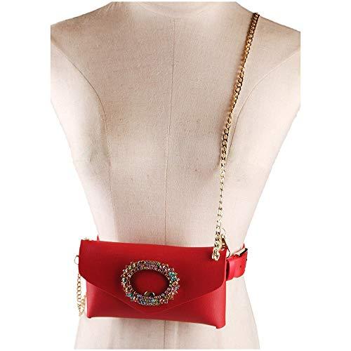 Con Fanny All'aperto Viaggio Borsa Do Rosso Da Marsupio Cristallo Vita Pack Cinturino Donna Pelle In Fiore Pu Rimovibile Metallo AfvwfqIxp