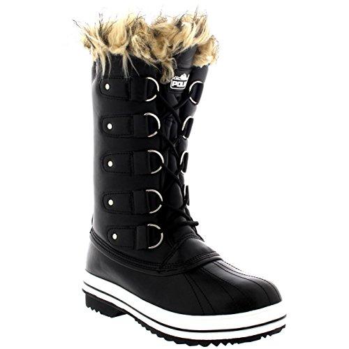 Polaire Producten Dames Veterschoenen Rubberen Zool Hoog Winter Sneeuw Regen Schoenlaarzen Zwart Leer