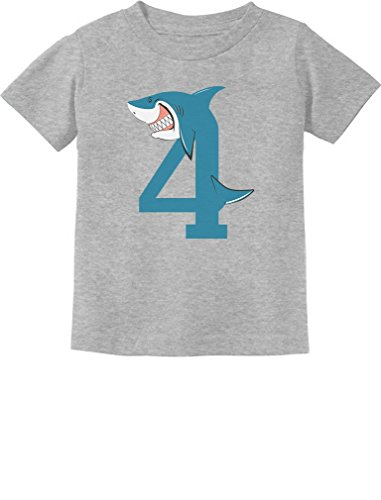 TeeStars - 4th Birthday Shark Party Gift for 4 Year Old Toddler Kids T-Shirt 5/6 -