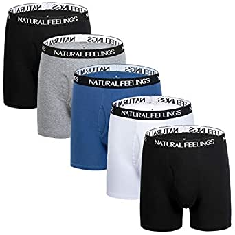 Natural Feelings Mens Boxer Shorts Soft Cotton Men Pack Breathable Mens Underwear Boxer Briefs with Open Fly