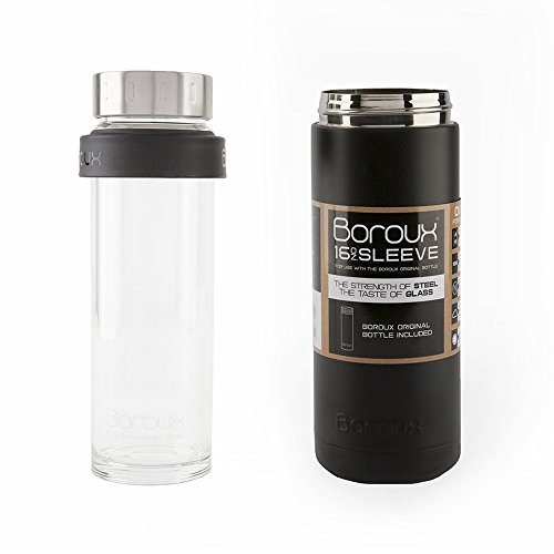 Boroux SLEEVE-Insulated Thermos Water Bottle .5 LITER. Handmade Pure Borosilicate Glass Water Bottle with DOUBLE WALLED STAINLESS STEEL VACUUM SEALED PROTECTION. No Slip Grip Technology-Black