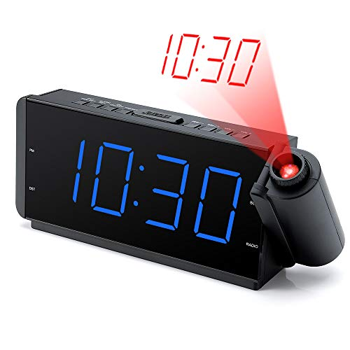DreamSky Projection Alarm Clock Radio with USB Charging Port & FM Radio 10 Preset Stations, 2 Inches Large Blue Led Number with Dimmer, Snooze, Sleep Timer,12H Display, Plug in Alarm Clock for Bedroom