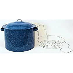 Granite Ware High Capacity Enamel on Steel Water Bath Canner with Chrome Jar Rack, Blue