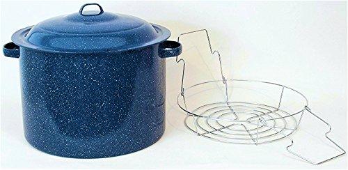 Granite Ware High Capacity Enamel on Steel Water Bath Canner with Chrome Jar Rack, Blue by Granite Ware