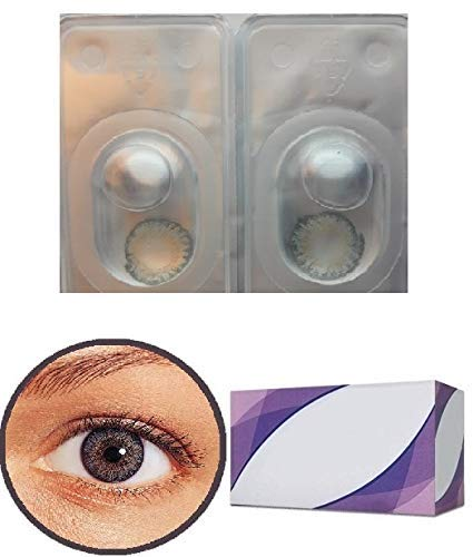 Perfection 123 Only - Women Multi-Color Contact Lenses - Cases Cosplay Eyes Cute Colored Cosmetic Makeup Eye Shadow (Grey 3 with Case) -