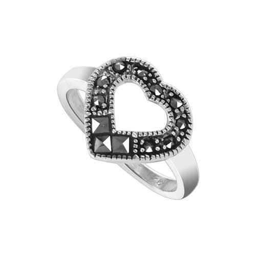 (925 Sterling Silver 12 x 11mm Open Heart Marcasite Ring Size 7 Polished)