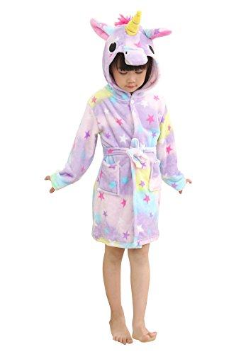 LANTOP Kids Unicorn Bathrobe Soft Flannel Robe All Seasons Unisex Sleepwear  Warm Gift 6415edff6