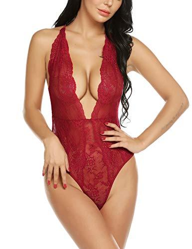 Models Lingerie Hot (Avidlove Women Teddy Lingerie Deep V Halter Floral Lace Teddy Bodysuit)