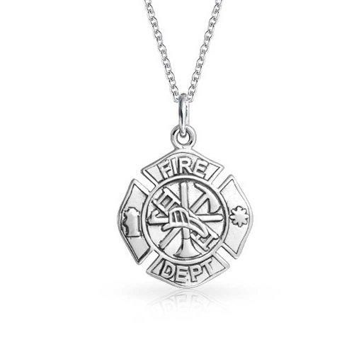 Firefighter Fire Dept Shield medallion Cross Round Small Pendant For Men or Women 925 Sterling Silver Necklace 16 Inches