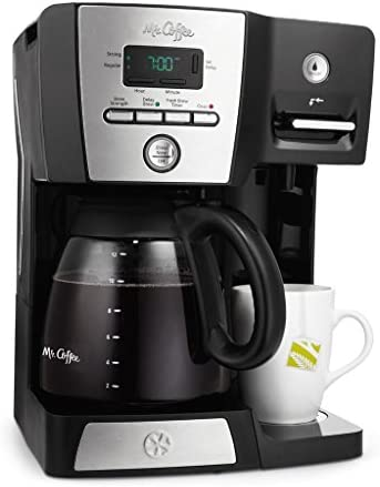 Mr. Coffee BVMC-DMX85 – 12-Cup Programmable Coffeemaker with Integrated Hot Water Dispenser – Black Chrome