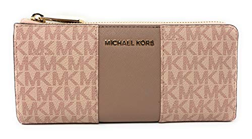 Michael Kors PVC Signature Center Stripe JST LG Three Quarter Zip Wallet in Fawn/Ballet