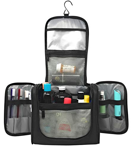 (Extra Large Capacity Hanging Toiletry Bag Water Resistant Machine Washable   Organizer for Men & Women Spacious Compact Kit   Strong Zippers, Sturdy Hook   Handle   17 Compartments   Travel and Home)