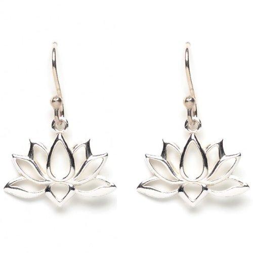Open Design Lotus Blossom Flower Dangle Earrings in Sterling Silver, (Lotus Blossom Earrings)