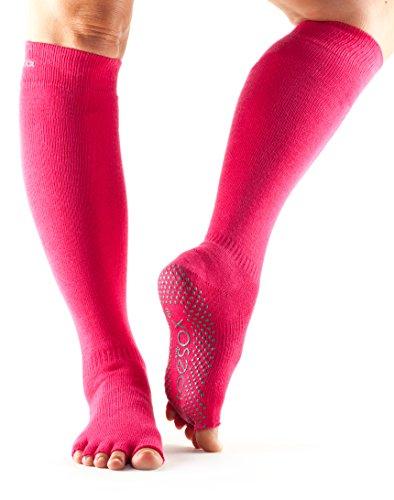ToeSox Women's Grip Half Toe Scrunch Socks, Small, Fuchsia