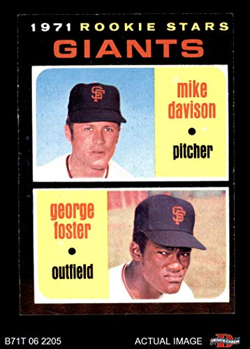 1971 Topps # 276 Giants Rookies George Foster / Mike Davison San Francisco Giants (Baseball Card) Dean's Cards 5 - EX Giants