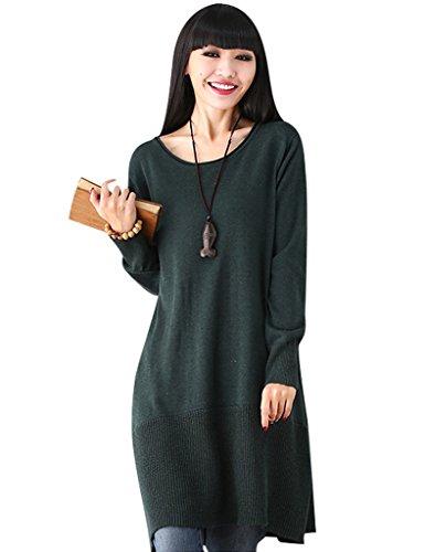 Youlee Mujeres Otoño Redondo Collar Largo Manga De punto Suéter Vestir Verde Negruzco Fit EU 36-46