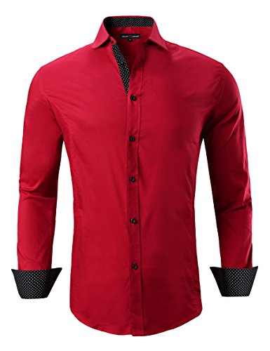 Joey CV Mens Casual Button Down Shirts Long Sleeve Regular Fit Men Shirt(Red,Medium)