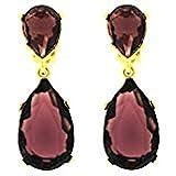 Kenneth Jay Lane Amethyst Purple Crystal & Gold Teardrop Clip On Earrings