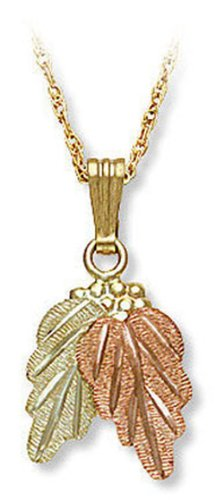 10k Black Hills Gold Pendant Necklace with Leaves, from Landstroms, 18
