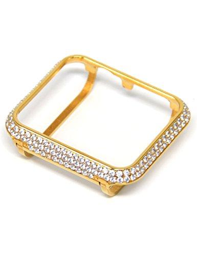 Callancity 42mm Handwork Encrusted Rhinestone Diamond Gold case Bezel Compatible Apple Watch Series 3 2 1