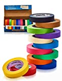 60 Yards of 1 inch X 12 Rolls of Colored Masking Tape for Kids Arts Crafts, Packing, Painters Tape Fun DIY Teachers Art Supplies, Office and Decorating. Toddlers, Kids Year Old by CraftsOpoly