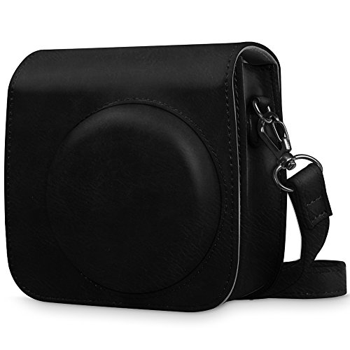Fintie Protective Case for Fujifilm Instax Mini 8 Mini 8+ Mini 9 Instant Camera - Premium Vegan Leather Bag Cover with Removable Strap, Vintage Black