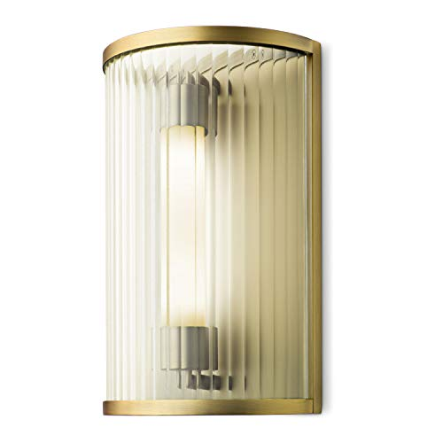 Brass Vanity Sconce with Cylinder Glass Shade, 1-Light Metal LED Bedside Wall -