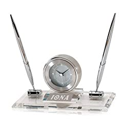 Iona Executive Glass Clock and Pen Stand 'Iona Wordmark Engraved'