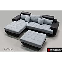 3PC Modern Black Grey Sectional Sofa Chaise Ottoman S150CLBG