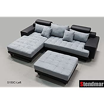 this item 3pc modern black grey sectional sofa chaise ottoman s150clbg