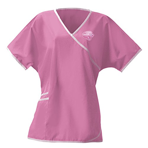 NFL League Logo Jacksonville Jaguars Women's Wrap Scrub Top, Pink, Large